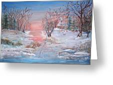 Cold Sunset Greeting Card by Mary Sedici