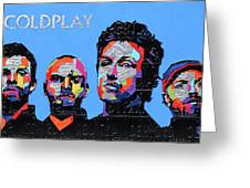 Coldplay Band Portrait Recycled License Plates Art On Blue Wood Greeting Card