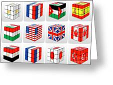 Collage Of Flags Of Different Nation  Greeting Card