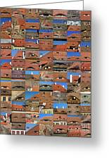 Collage Roof And Windows - The City S Eyes Greeting Card