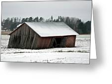 Collapsing Barn Greeting Card