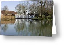 College Barge At Sandford Uk Greeting Card
