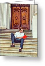 College Student Reading Red Book, Sitting On Stairs, Relaxing Ou Greeting Card