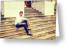 College Student Sitting On Stairs, Relaxing Outside Greeting Card