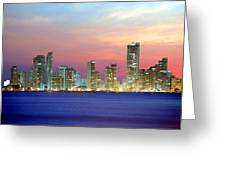 Colombia. Cartagena. The City At Night. Greeting Card