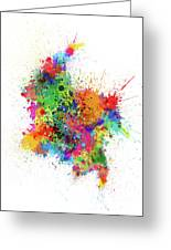 Colombia Paint Splashes Map Greeting Card