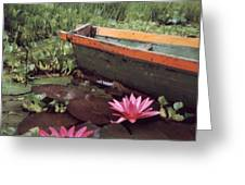 Colombian Boat And Flowers Greeting Card