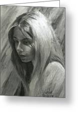 Portrait Of Woman In Charcoal Greeting Card