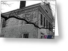 Colonial House With Flag Greeting Card