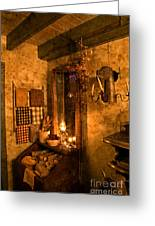 Colonial Kitchen Evening Greeting Card