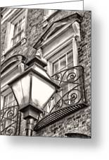 Colonial Lamp And Window Bw Greeting Card