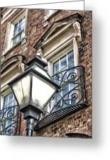 Colonial Lamp And Window Greeting Card