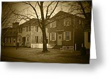 Colonial Shops - Bw Greeting Card