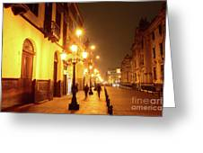 Colonial Street In Central Lima At Night Greeting Card