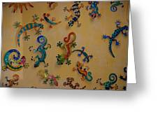 Color Lizards On The Wall Greeting Card