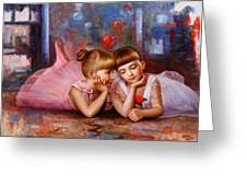 Color Of Melody -two Young Ballerina Greeting Card