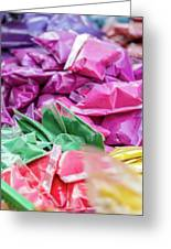 color pigments as an offering in the temple, Chennai, Tamil Nadu Greeting Card