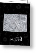 Colorado Map Music Notes 2 Greeting Card