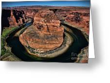 Colorado River Circles Horseshoe Bend Page Arizona Usa Greeting Card