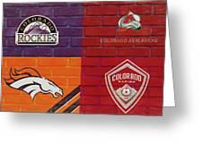 Colorado Sports Teams On Brick Greeting Card