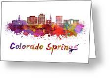 Colorado Springs V2 Skyline In Watercolor Greeting Card