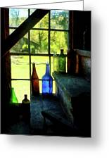 Colored Bottles On Steps Greeting Card