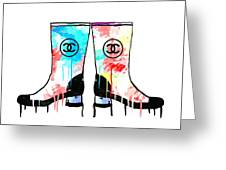 Colored Chanel Boots Greeting Card