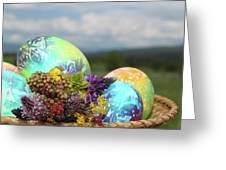Colored Easter Eggs In Basket And Spring Flowers Greeting Card