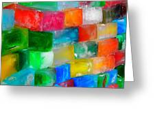 Colored Ice Bricks Greeting Card