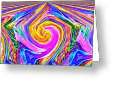 Colored Lines And Curls Greeting Card