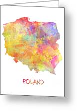 Colored Map Of Poland Greeting Card