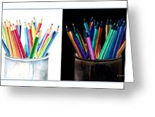 Colored Pencils - The Positive And The Negative Greeting Card