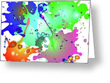 Colored Splashes On A Blue Background Greeting Card