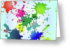 Colored Splashes On A Very Beautiful Blue Background Greeting Card