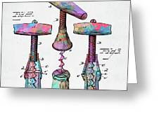 Colorful 1883 Wine Corckscrew Patent Greeting Card by Nikki Marie Smith