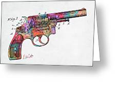 Colorful 1896 Wesson Revolver Patent Greeting Card by Nikki Marie Smith