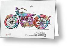 Colorful 1928 Harley Motorcycle Patent Artwork Greeting Card