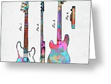 Colorful 1953 Fender Bass Guitar Patent Artwork Greeting Card by Nikki Marie Smith