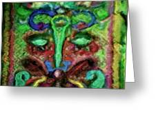 Colorful Abstract Painting Swirls And Dabs And Dots With Hidden Meaning And Secret Stories Of Birds  Greeting Card