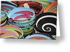Colorful African Wire Bowls Greeting Card