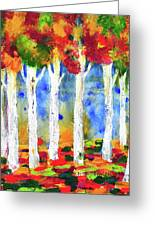 Colorful Aspen Trees View Greeting Card