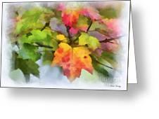 Colorful Autumn Leaves - Digital Watercolor Greeting Card