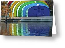 Colorful Bandshell And Swan Greeting Card