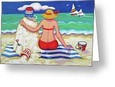 Colorful Beach Woman Sandman Greeting Card