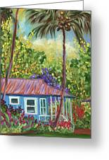 Colorful Blue Hawaiian Plantation House With Red Tin Roof And Sw Greeting Card