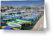 Colorful Boats Docked In Nice Marina, France Greeting Card