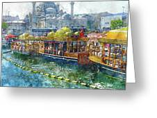 Colorful Boats In Istanbul Turkey Greeting Card