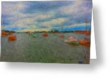 Colorful Boats On Cloudy Day At Boothbay Harbor Greeting Card