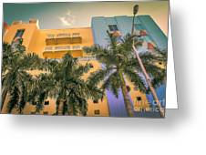 Colorful Building And Palm Trees Greeting Card