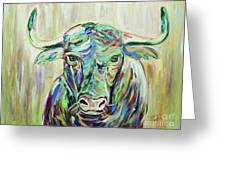 Colorful Bull Greeting Card